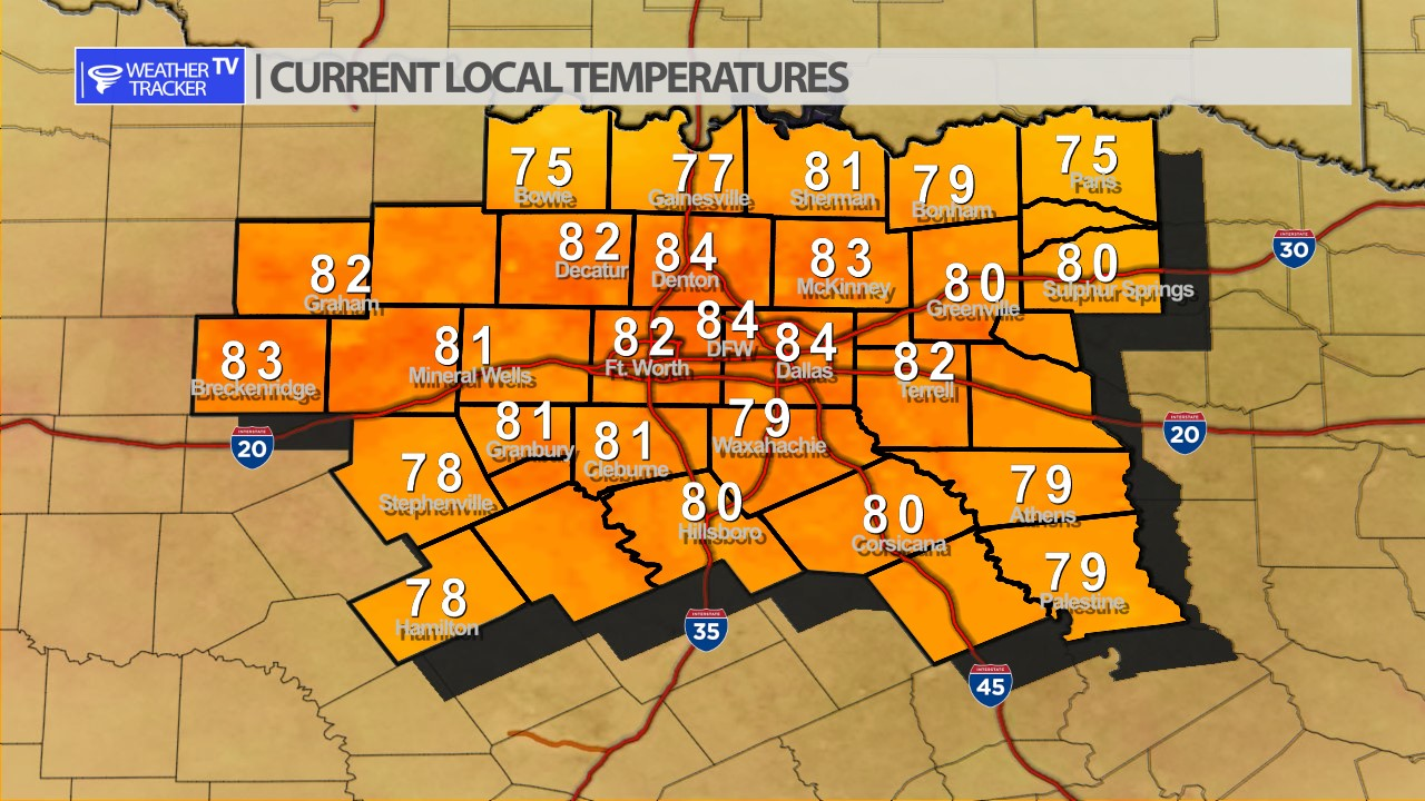 Live North Texas Temperatures